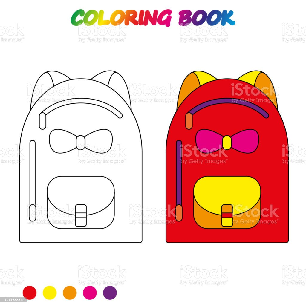 Ilustración De Bolso De Escuela Página Para Colorear Hoja De Cálculo
