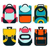 School bag flat illustration. Bag for school.