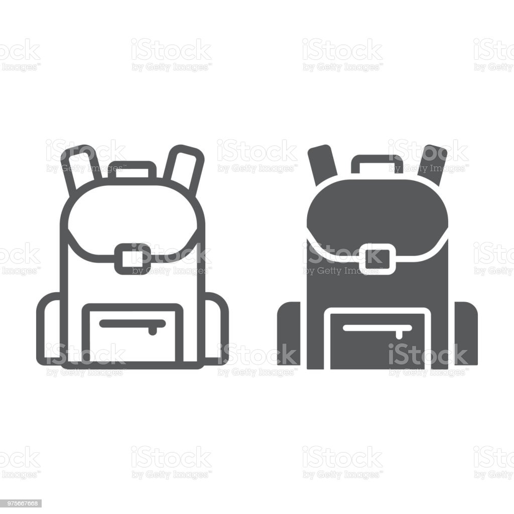 School bag line amd glyph icon, school and education, backpack sign vector graphics, a linear pattern on a white background, eps 10.