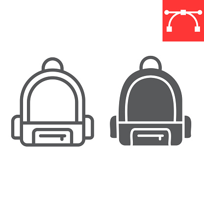 School bag line and glyph icon, school and education, backpack sign vector graphics, editable stroke linear icon, eps 10.