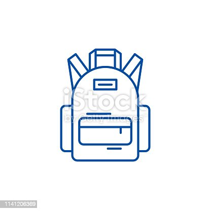 School bag line concept icon. School bag flat  vector website sign, outline symbol, illustration.