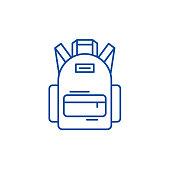 School bag line concept icon. School bag flat  vector website sign, outline symbol, illustration.