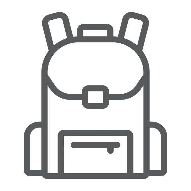 stockillustraties, clipart, cartoons en iconen met schooltas lijn pictogram, school en onderwijs, teken vector graphics, een lineair patroon op een witte achtergrond, eps 10 rugzak. - schooltas