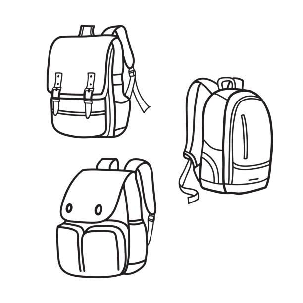 stockillustraties, clipart, cartoons en iconen met schooltas overzicht - schooltas