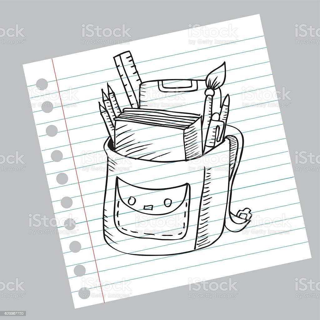 School bag. Sketch school bag sketch - stockowe grafiki wektorowe i więcej obrazów bazgroły - rysunek royalty-free