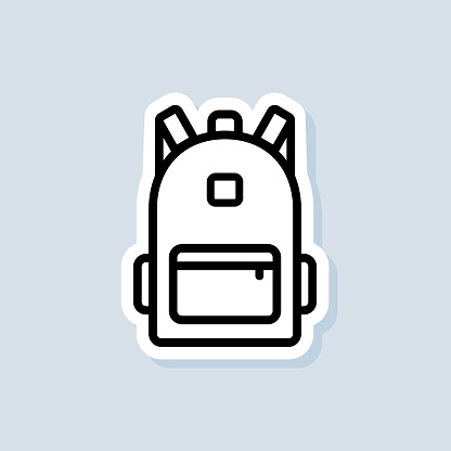 School bag sticker. Backpack, bag line icon. Back to school. Vector on isolated background. EPS 10