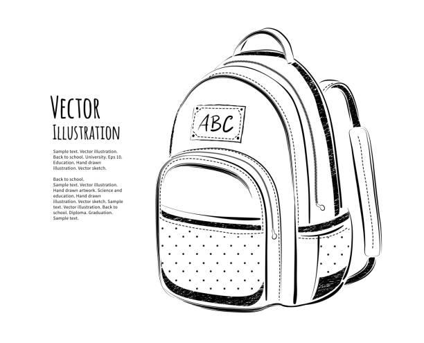 stockillustraties, clipart, cartoons en iconen met school bag - schooltas