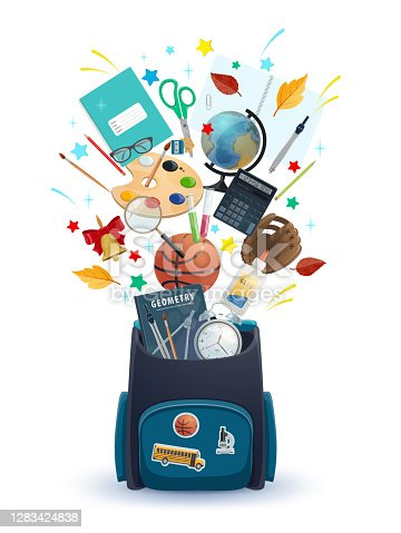 School bag with student education supplies vector design of welcome back to school. Backpack with books, calculator and globe, paint, brush and flasks, scissors, glue and alarm clock, glue and ball