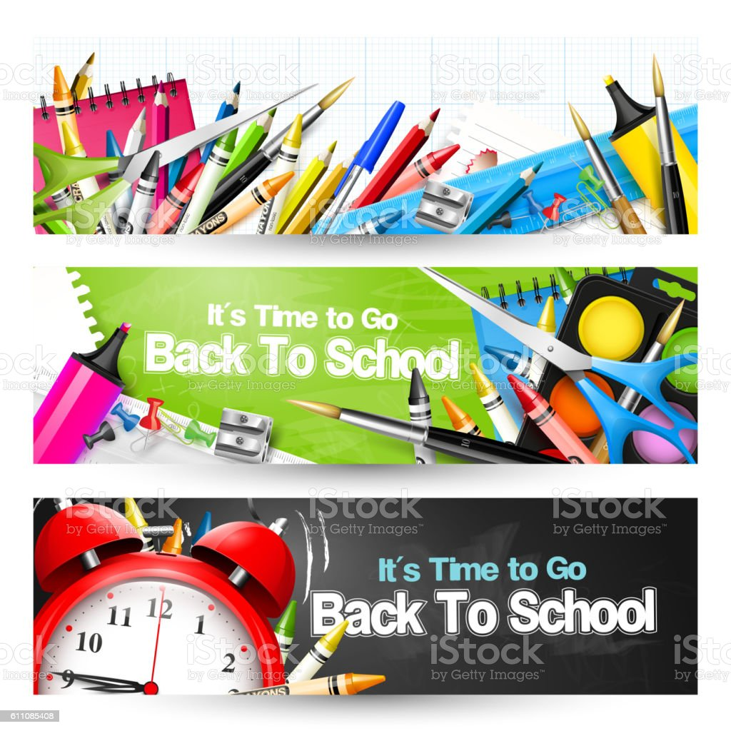 School banners vector art illustration