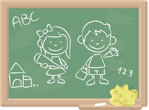 School Begins Chalkboard Drawing
