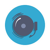 school bell colored in blue badge icon. Element of school icon for mobile concept and web apps. Detailed school bell icon can be used for web and mobile