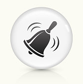 School Bell icon on white round vector button