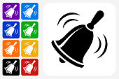 School Bell Icon Square Button Set. The icon is in black on a white square with rounded corners. The are eight alternative button options on the left in purple, blue, navy, green, orange, yellow, black and red colors. The icon is in white against these vibrant backgrounds. The illustration is flat and will work well both online and in print.