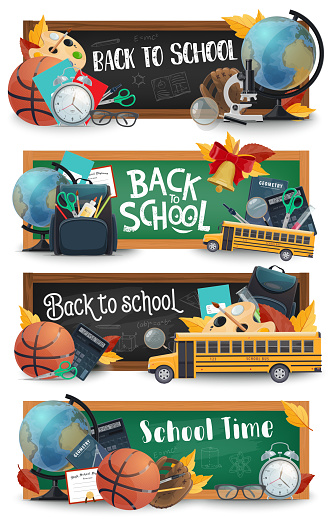 School blackboard, education supplies, bus banners