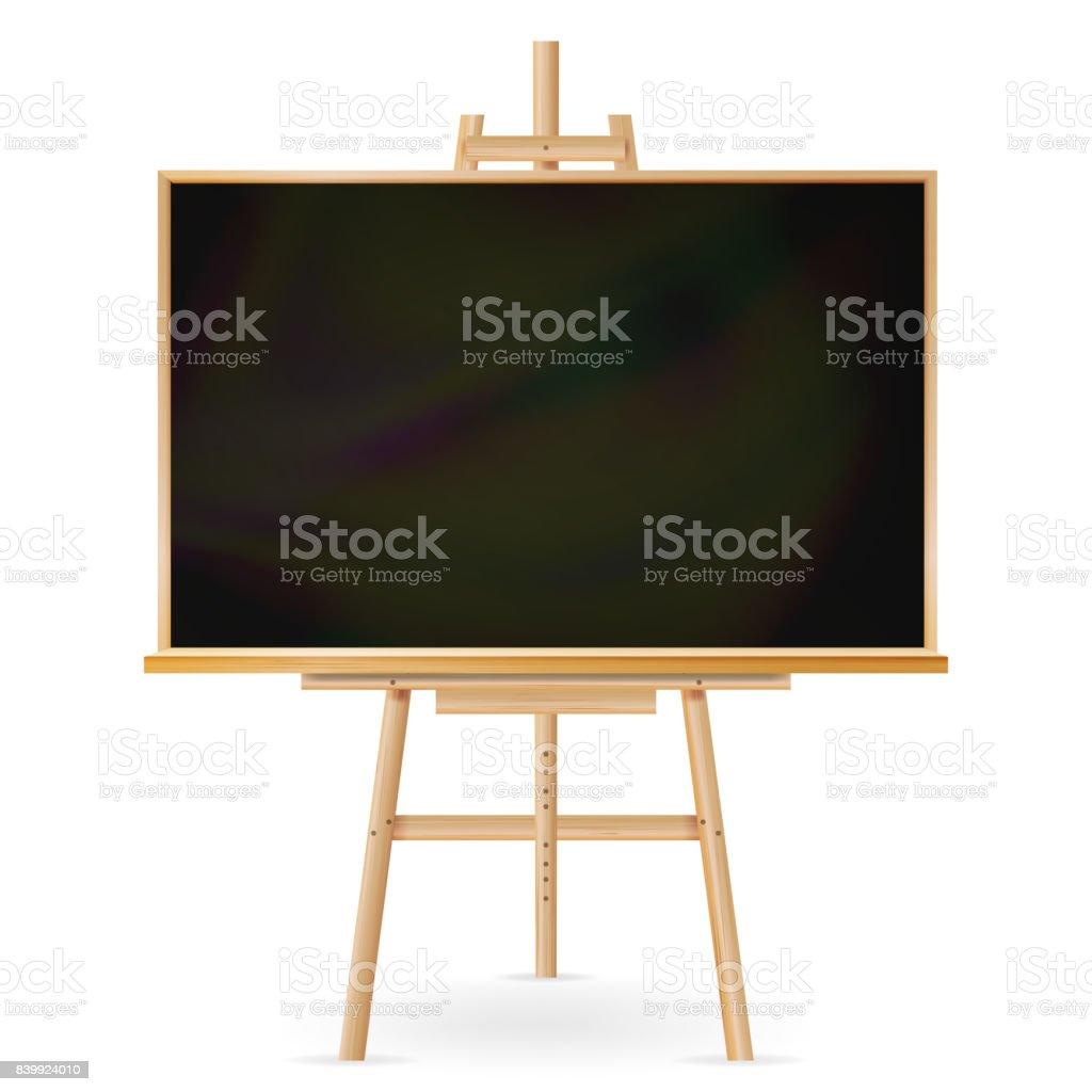 Vecteur de l'école de Blackboard. Cadre en bois. Tableau classique éducation vide. Illustration réaliste isolée - Illustration vectorielle