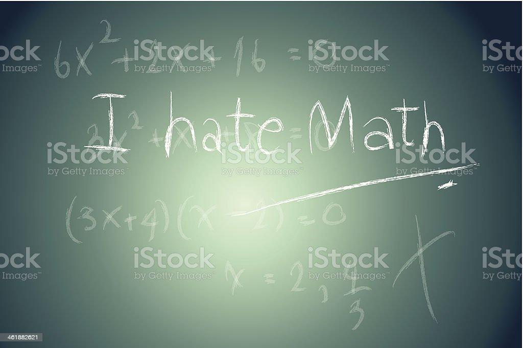 School Blackboard with I hate math Message written Chalk vector art illustration