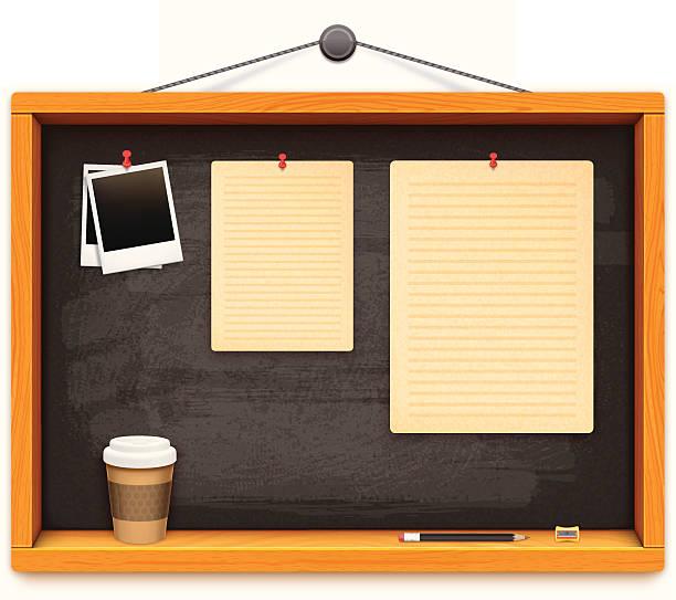 schule tafel mit bleistift und papier cofee cup - nagelplatte stock-grafiken, -clipart, -cartoons und -symbole