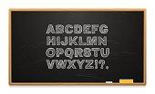 School board with alphabet written in chalk. Wooden frame. Chalk and sponge. Vector illustration