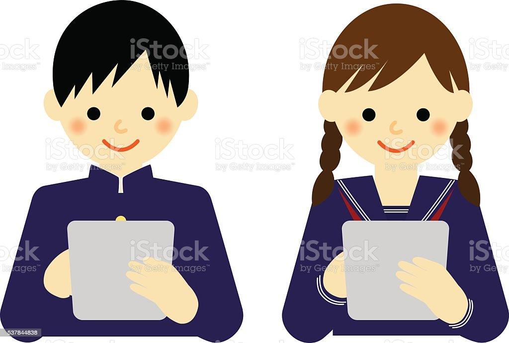 school boy and school girl using tablet vector art illustration