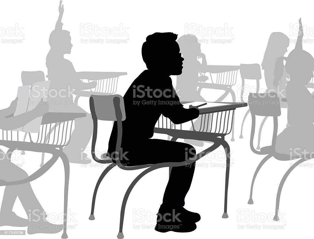 Escuela chico en su escritorio - ilustración de arte vectorial
