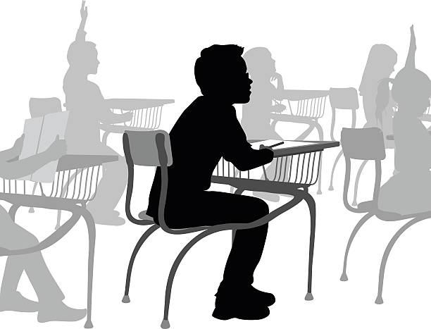 ilustrações, clipart, desenhos animados e ícones de menino de escola em sua mesa - aula de redação