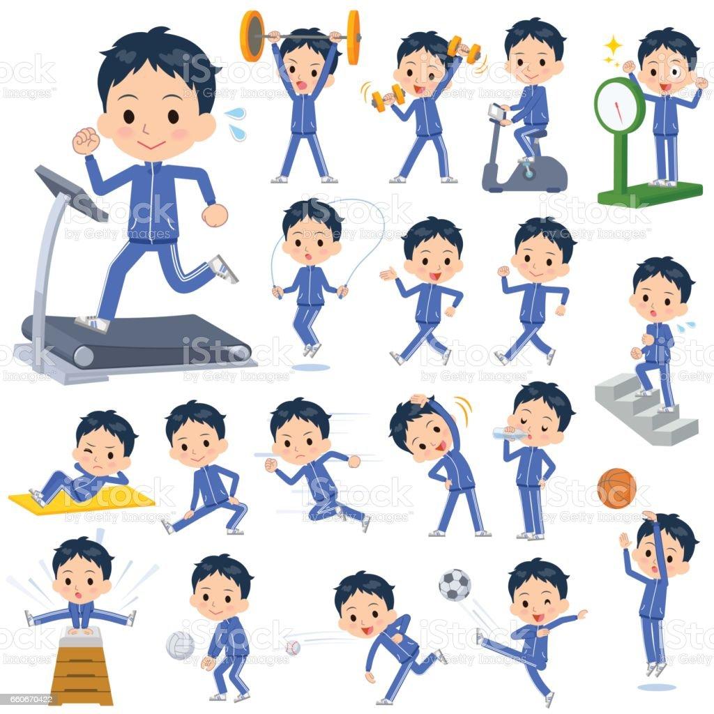 学校の男の子は青ジャージ スポーツ ・運動 ベクターアートイラスト