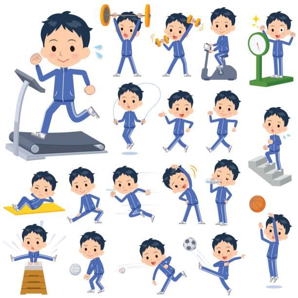 学校の男の子は青ジャージ スポーツ ・運動 - 漫画の子供たち点のイラスト素材/クリップアート素材/マンガ素材/アイコン素材