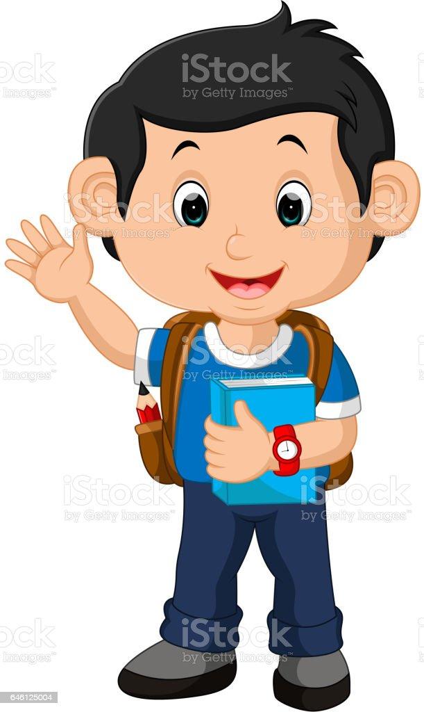 School boy cartoon walking vector art illustration