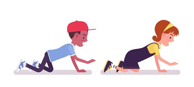 School boy, girl having fun, crawling on hands and knees