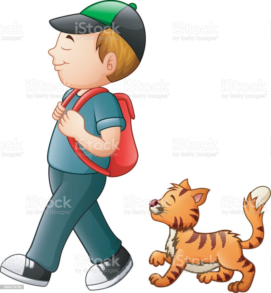 School boy going to school with a cat vector art illustration