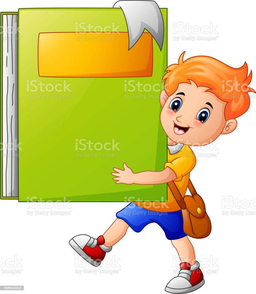 School boy holding a giant book vector art illustration