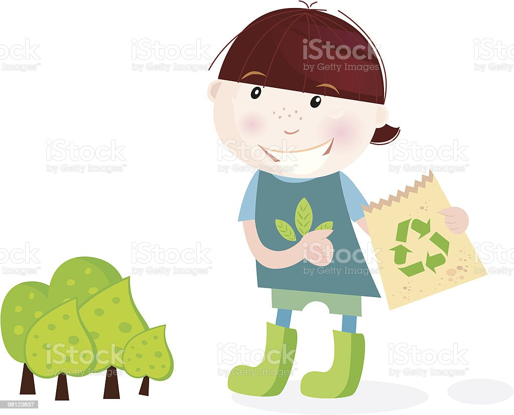 School boy is recycling royalty-free school boy is recycling stock vector art & more images of backgrounds