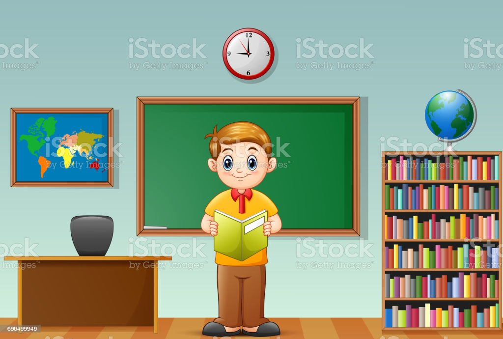 School boy reading a book in classroom vector art illustration