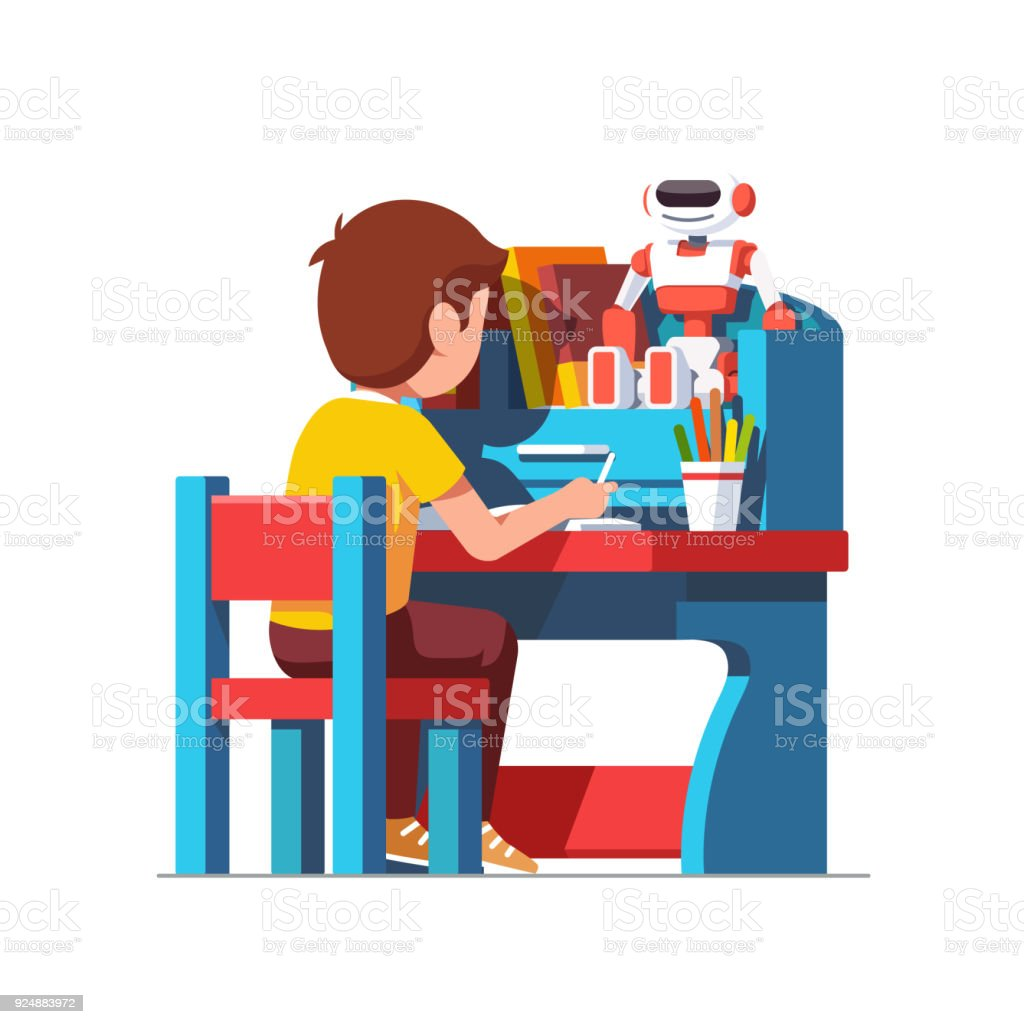 Outstanding School Boy Studying Sitting At Blue Child Desk Stock Gmtry Best Dining Table And Chair Ideas Images Gmtryco
