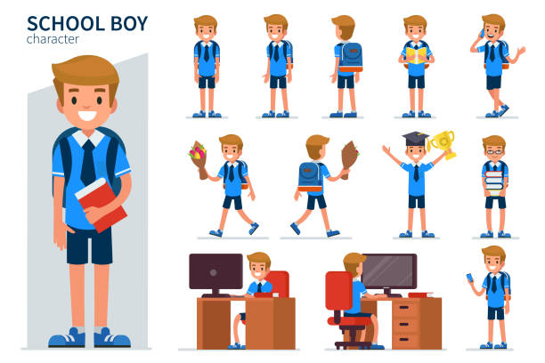 school boy School boy character in different poses. Flat style vector illustration isolated on white background. children only stock illustrations