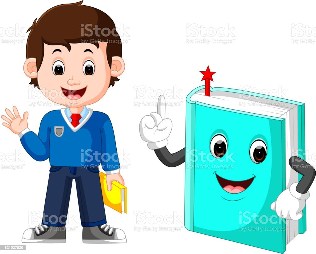 School boy with a giant book vector art illustration