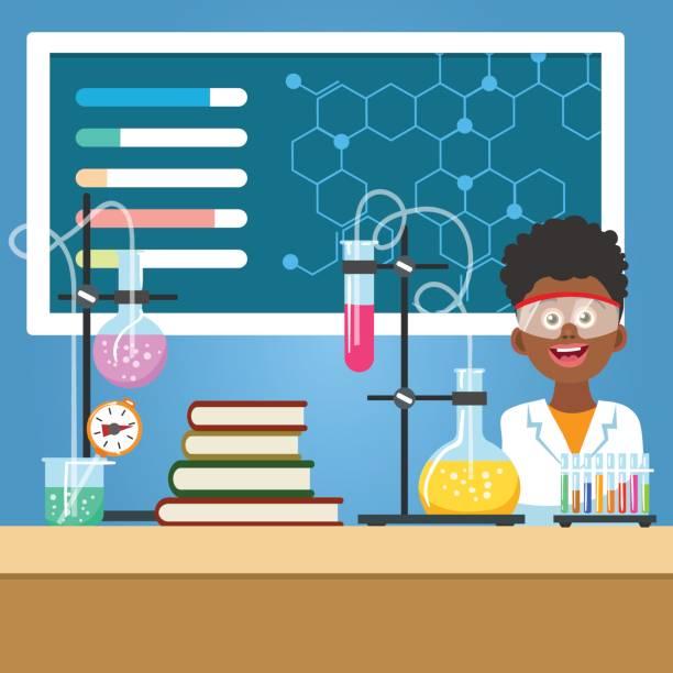 schuljunge mit chemie-ausrüstung - schutzbrille stock-grafiken, -clipart, -cartoons und -symbole