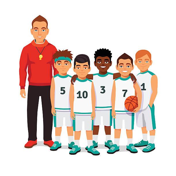 School boys basketball team with their coach vector art illustration