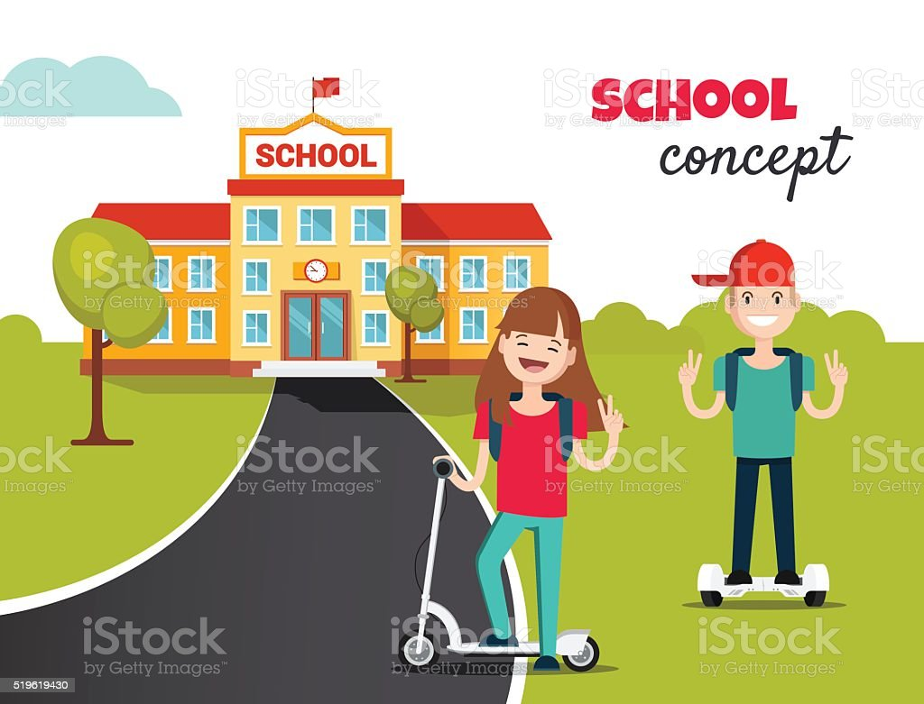 School building and front yard with students children. vector art illustration