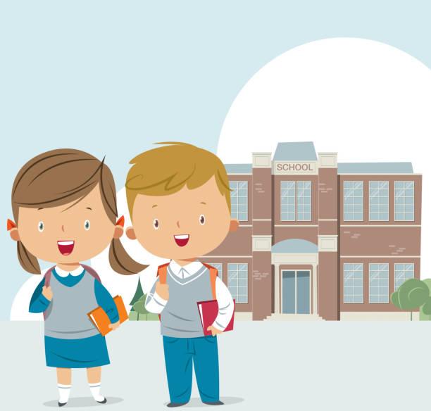 stockillustraties, clipart, cartoons en iconen met schoolgebouw en kinderen - schooluniform