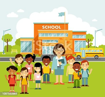 Modern school, college building on city street background, with bus and front yard. Group of kids and young teacher woman.