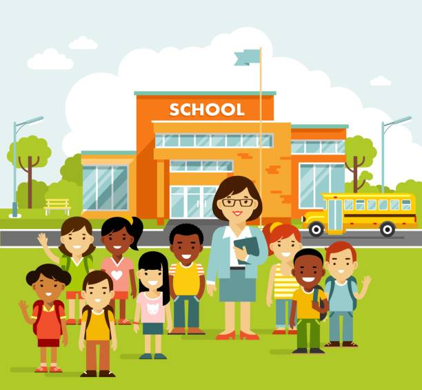 School building and school children in flat style. Modern school, college building on city street background, with bus and front yard. Group of kids and young teacher woman. school building stock illustrations