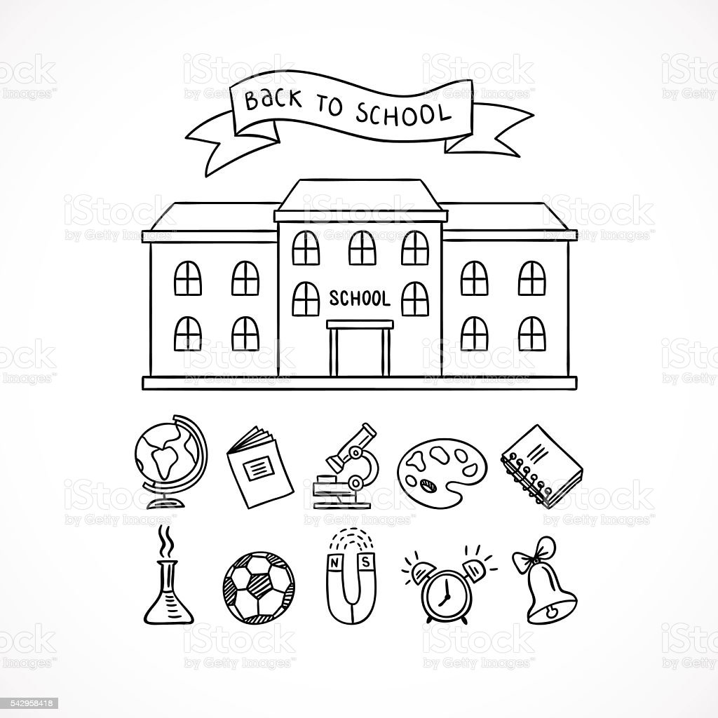 School building and school icons hand drawn educational icons and school building and school icons hand drawn educational icons and symbols royalty free school buycottarizona Image collections