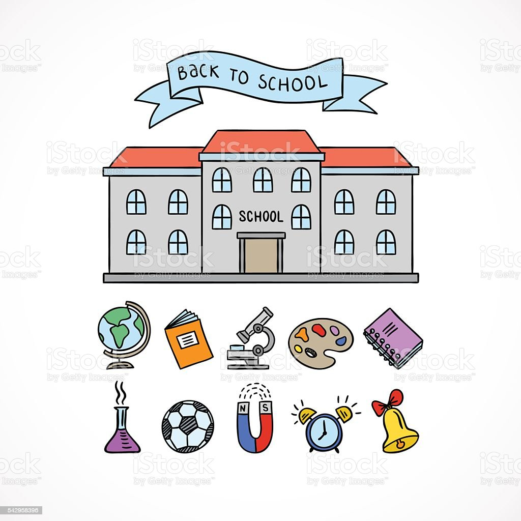 School building and school icons hand drawn educational symbols school building and school icons hand drawn educational symbols royalty free school building and buycottarizona Image collections