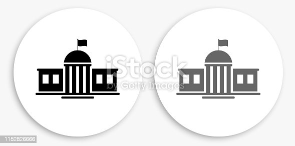 School Building Black and White Round Icon. This 100% royalty free vector illustration is featuring a round button with a drop shadow and the main icon is depicted in black and in grey for a roll-over effect.