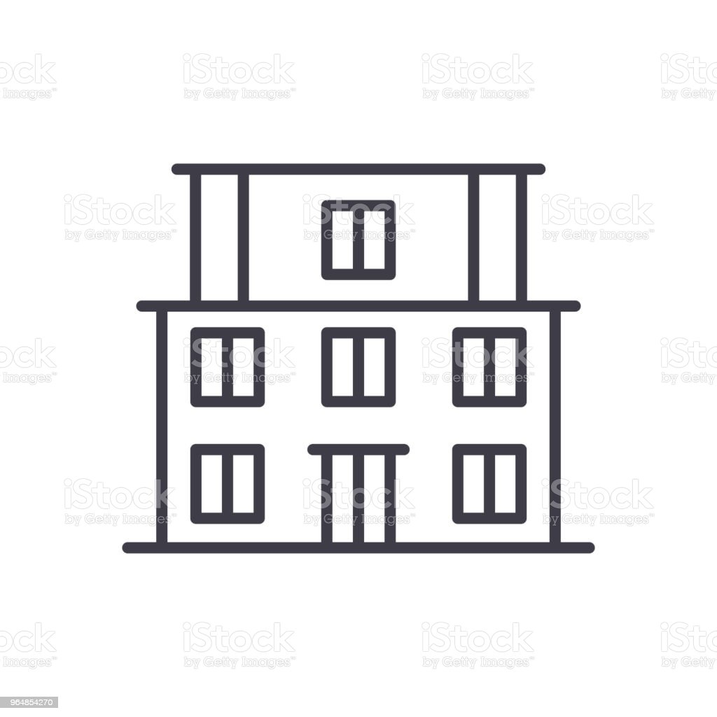 School building black icon concept. School building flat  vector symbol, sign, illustration. royalty-free school building black icon concept school building flat vector symbol sign illustration stock vector art & more images of apartment