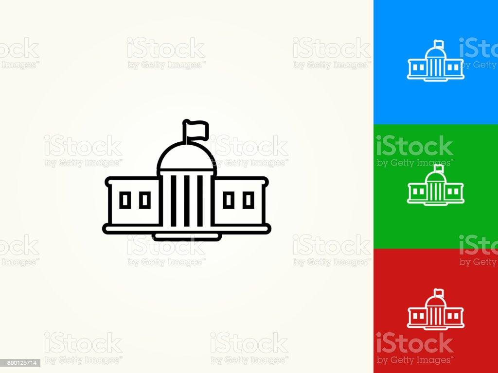 Bâtiment scolaire contour noir linéaire icône - Illustration vectorielle