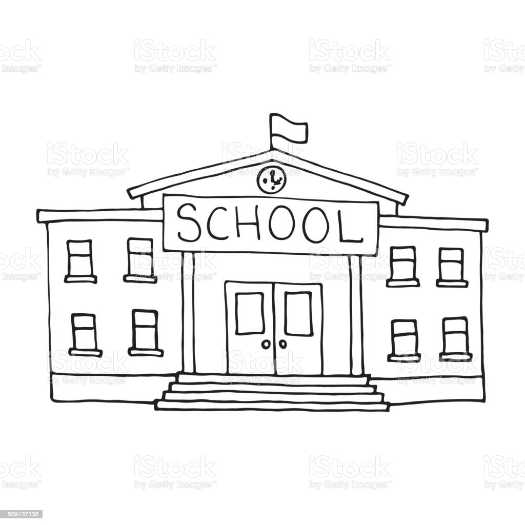 School Building Doodle Outlined Stock Vector Art & More ...
