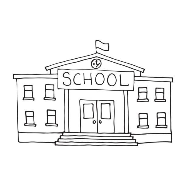 School building doodle. Outlined School building doodle. Outlined on white background. schoolhouse stock illustrations