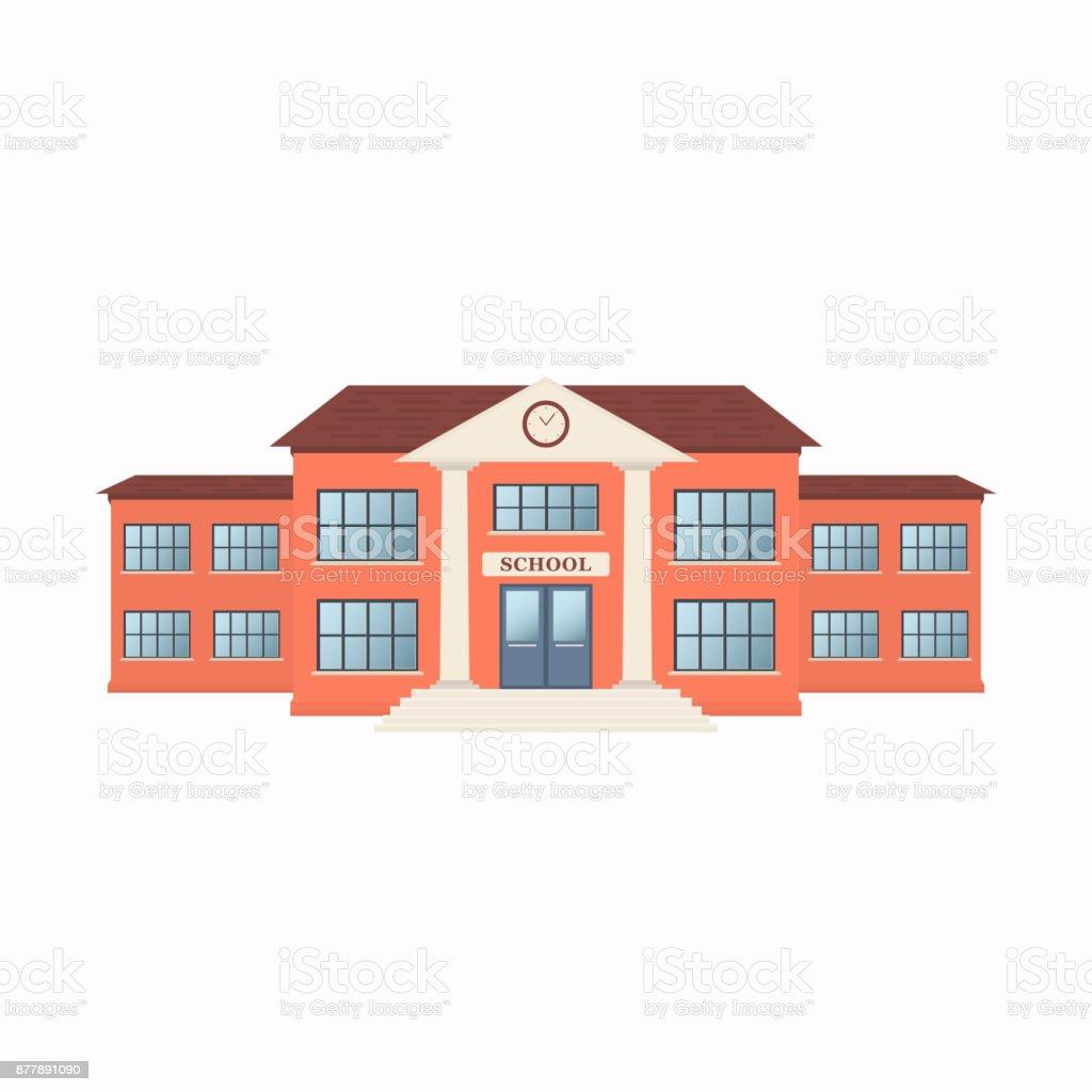 Extérieur de bâtiment école isolé sur fond blanc. Vue de face - Illustration vectorielle